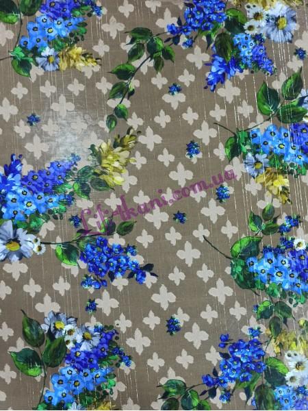 Шифон беж в голубые цветы