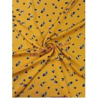 Штапель желтый в голубые цветы