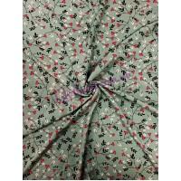 Штапель бирюзовый в розовые цветы