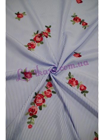 """Рубашечная в полоску с вышивкой """"Цветы"""""""